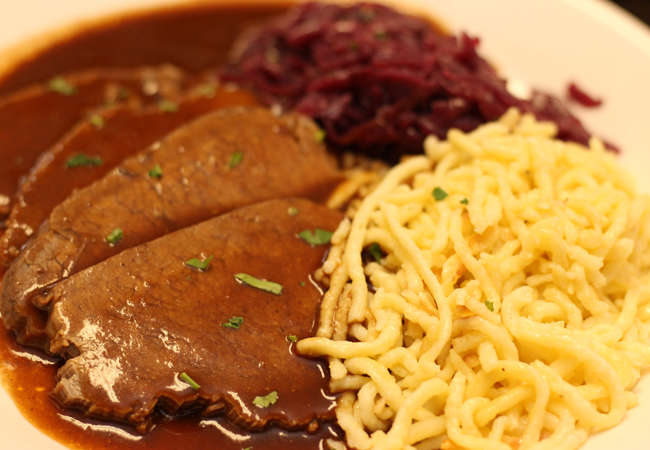 sauerbraten, spaetzle, red cabbage copy