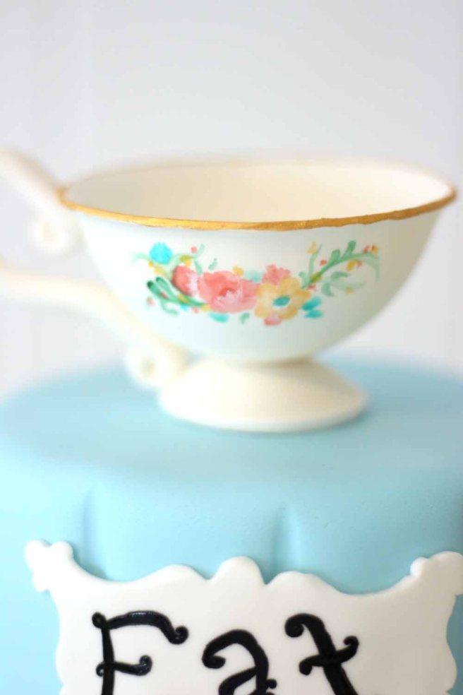 Alice in Wonderland Sweet 16 custom cake, teacup details