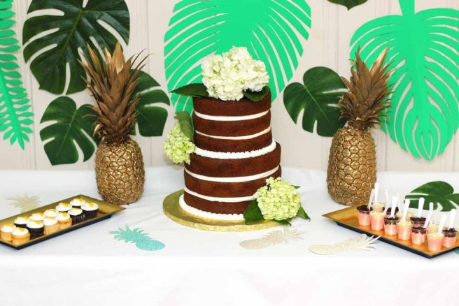 Gold Pineapple themed bridal shower with palm leaves and naked cake by Cafe Pierrot