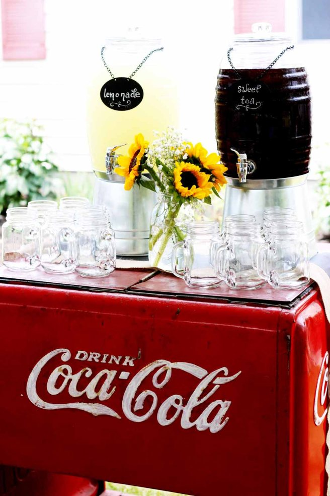 The gourmet barbecue menu from Pierrot Catering includes iced tea and lemonade served in mason jars