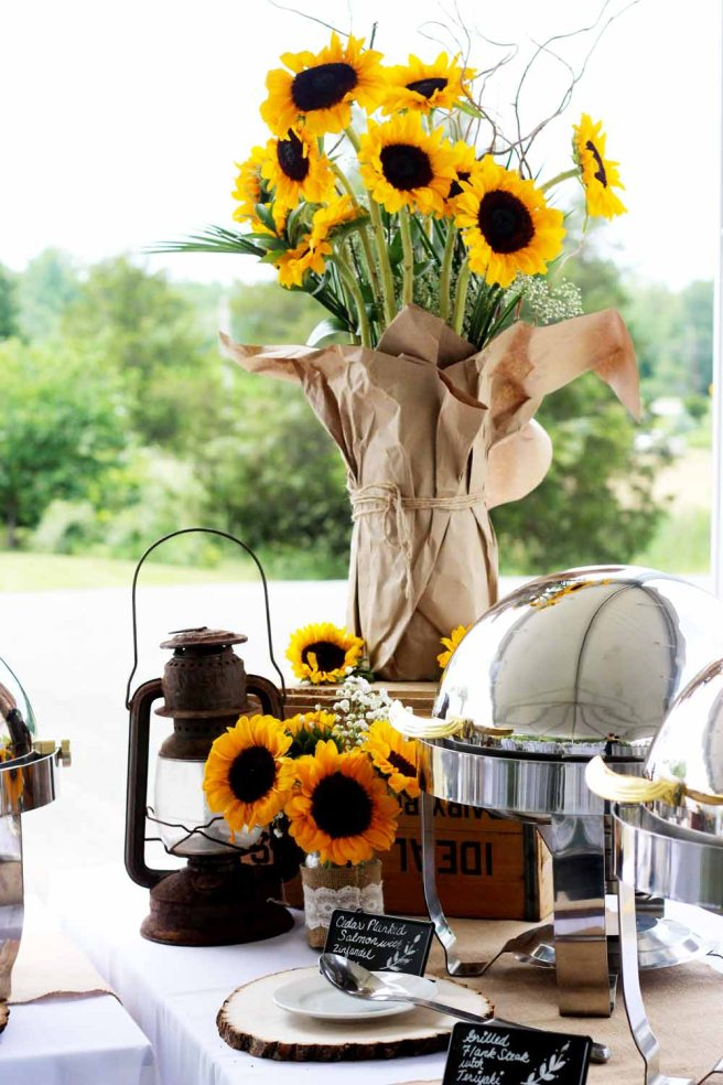 Summer Wedding by Pierrot Catering in North Jersey with sunflowers, burlap, and lace
