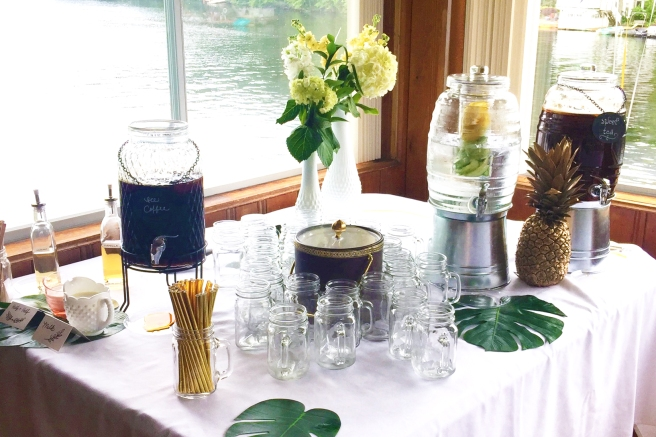 drink station for the hawaiian themed bridal shower