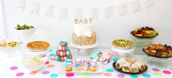 gender reveal baby shower brunch and luncheon by French Bakery and Caterer Cafe Pierrot in Northern New Jersey