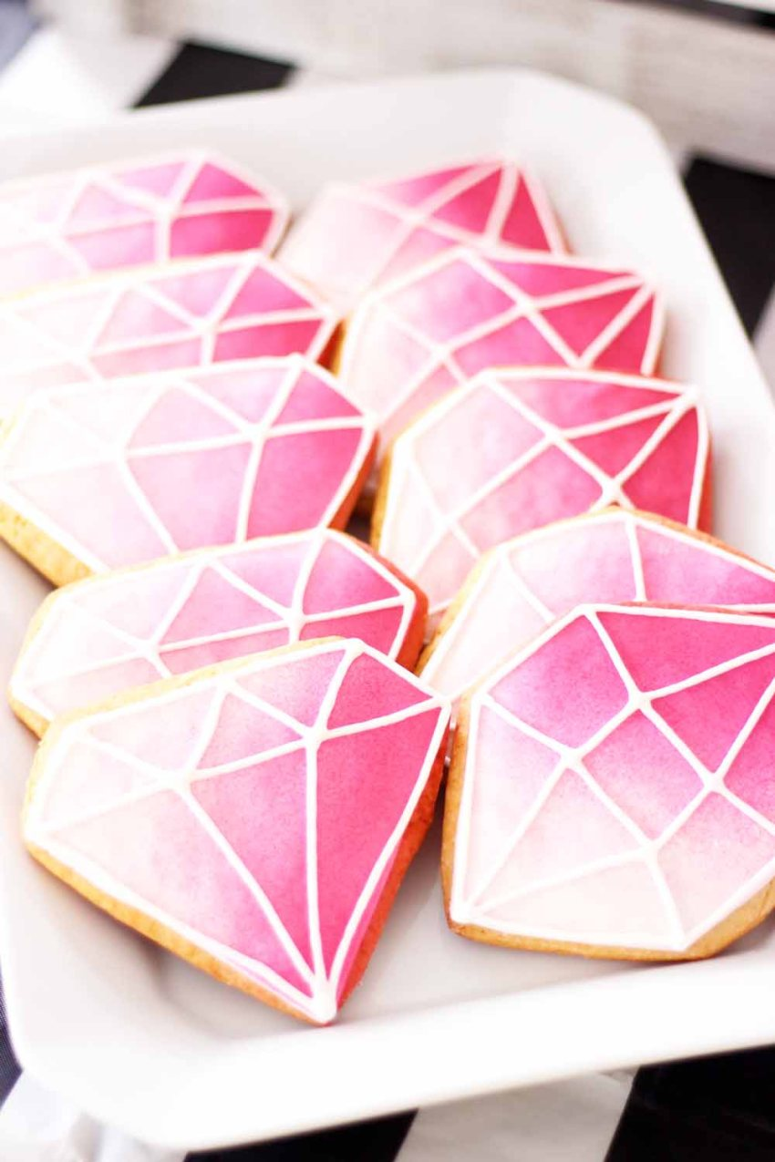 ombre diamond shaped custom cookies from cafe pierrot in sparta nj