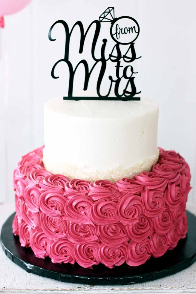 Bridal Shower Cake with Rosettes and pearl details. From Miss to Mrs Cake Topper